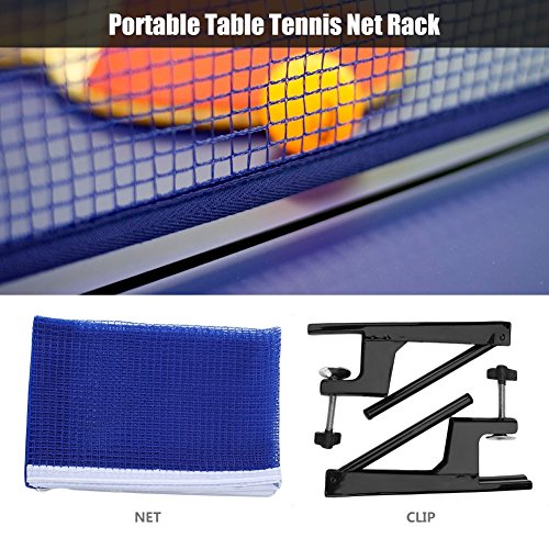 Set Rack Net de Tennis de Table Kit Filet Poteaux Ensemble de Filet et Fixation de Ping Pong