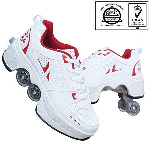 AG Patins roues rétractables multifonctions Chaussures 2 à Deformation 1, adapté pour les débutants adultes et enfants,Blanc rouge,39