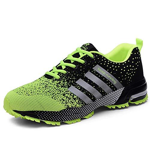 UBFEN Hommes Chaussures de Sport Multisports Outdoor Trail Chaussure Running Course Baskets Casual Entraînement Fitness Randonnée Sneakers Femmes EU 46 J Vert