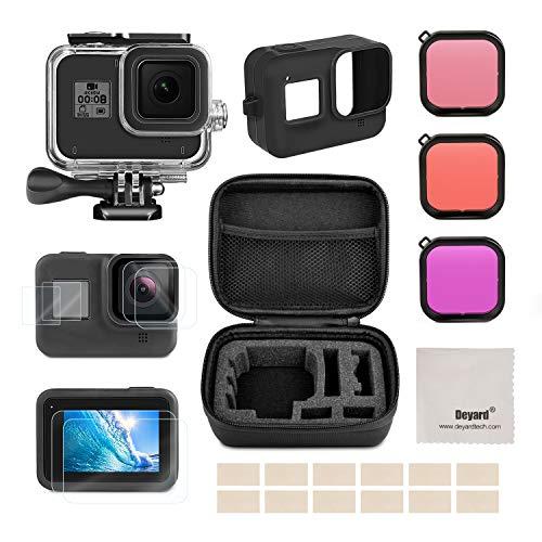 Deyard Kit d'Accessoires pour GoPro Hero 8 avec Petite Coque Antichoc + Etui Etanche + Protecteur d'Ecran en Verre Trempé + Couverture en Silicone + Lot d'Inserts Antibuée pour GoPro Hero 8 Noir