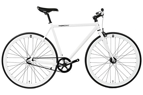 FabricBike- Vélo Fixie Blanc, Fixed Gear, Single Speed, Cadre Hi-Ten Acier, 10Kg (White & Black, M-53)
