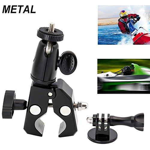 EXSHOW Support Fixation Guidon Vélo Scooter Moto pour GoPro Hero, Caméra d'Action et de Sport / Action Cam avec 1/4 Vis - Tête Ajustable Pivotante à 360° avec 1/4 Vis - Pour Guidons jusqu'à 33mm