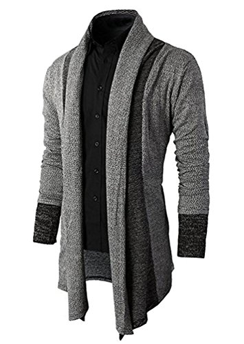 Brinny Hommes Chandail Veste Manteau Long Cardigan Ouvert en Tricot Knit Jacket Hoody Hoodie Sweatshirt Sweat Blazer Cardigan-Marled Ouvrez-Front col Chale