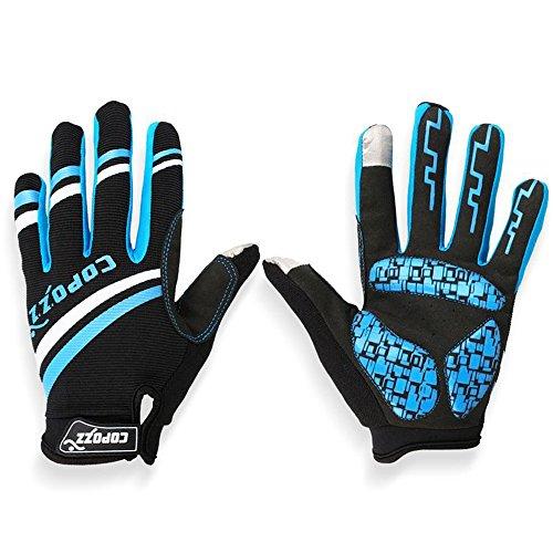 Gants de Cyclisme Velo VTT Fitness pour Ecran Tactile de Tablettes et Smartphones - Noir / Bleu - Unisex - Taille L
