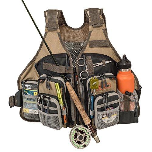 Anglatech Lot de gilet de pêche à la mouche pour la truite Pêche Gear et équipements, taille réglable pour homme et femme …