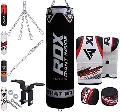 RDX 8PC Sac de Frappe Rempli Lourd MMA Punching Ball Muay Thai Arts Martiaux Kickboxing Kit Boxe avec Gants Chaine Suspension Support Mural Punching Bag