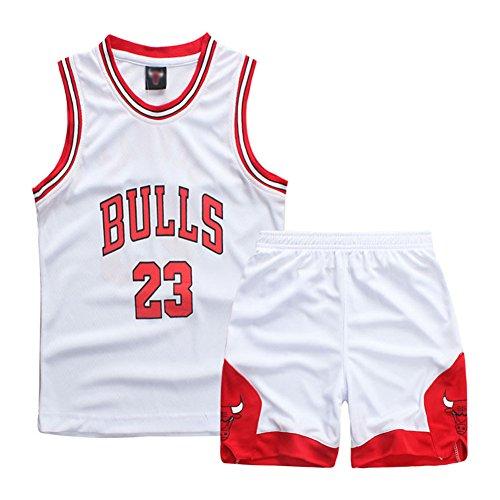 Sokaly Garçon Fille NBA Jorden#23 Chicago Bulls#23 Golden Satate Basket-Ball Perfomance Sport Ensemble Maillot de débardeur et de Shorts pour Enfant Sport Uniforme (XL(7-8ans), Rouge)