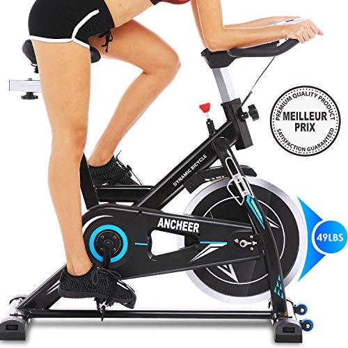 Profun Vélo d'Appartement à l'Intérieur Vélo Fitness avec Résistance Ajustable Écran LCD, Vélo d'Entraînement Fixe pour Adultes/Personnes Âgées Charge Maximale:120kg (Noir+Bleu)