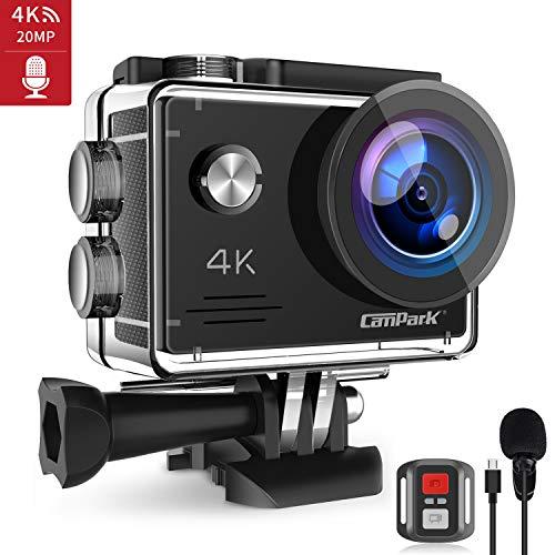 Campark Caméra Sport 4K 20MP WiFi Appareil Photo Microphone Externe Caméscope Étanche 40M Anti-Shake Télécommande avec 2 Batteries Rechargeables 1050mAh et Kits d'Accessoires