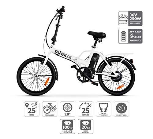 Nilox E Bike X1 New, Vélo Électrique Pliant Mixte Adulte, Blanc