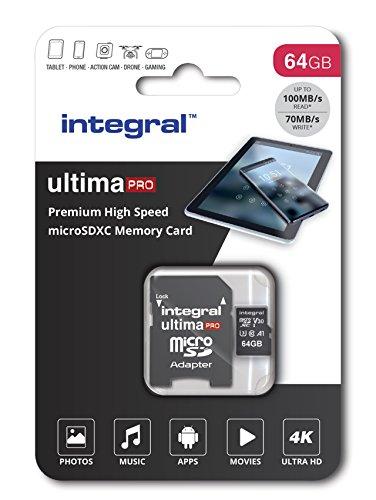 Integral Carte Mémoire 64Go Micro SDXC Premium Haute Vitesse jusqu'à 100MB/s Classe 10 V30 UHS-I U3 + Adaptateur SD