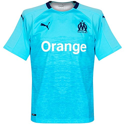 Puma Olympique de Marseille Third Maillot Original SS Homme, Turquoise-Peacoat, FR : L (Taille Fabricant : L)