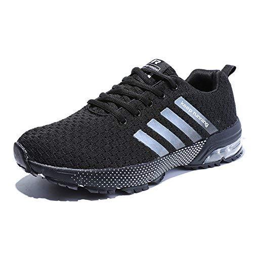 Senbore Chaussures de Sport Basket Running Respirantes Athlétique Sneakers Course Fitness Tennis Homme - Noir - 44 EU
