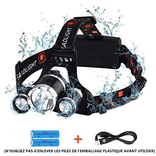 【Version Innovante】Lampe Frontale Rechargeable,Frontale Puissante, Lampe Frontale LED 4 Modes,Étanche, Lampe Frontale Câble USB Inclus pour Activités de Plein Air Comme Le Camping, Pêche,Chasse