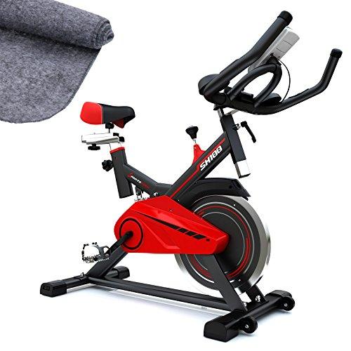 Vélo d'Appartement SX100 Vélo de Biking, Poids d'inertie de 13 KG, Support capitonné pour Bras, Selle Confortable, vélo d'intérieur Silencieux, Tapis de Protection Inclus (SX100)