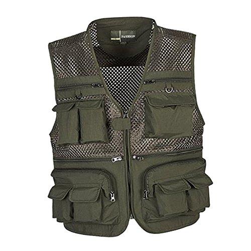 Multi-poches Gilet de Pêche en Maille Camouflage Photographie Séchage Rapide-5 Taille à Choix - Armée verte, XL