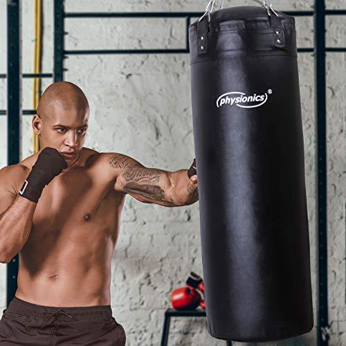 Sac de Frappe Plein | Rempli, Ø35 cm, H100cm, Poids 27 kg, Chaîne de Suspension 4 points et Mousqueton Inclus | Punching Bag Boxe, MMA, Muay Thai, Kickboxing, Arts Martiaux, Taekwando, Fitness, Sport