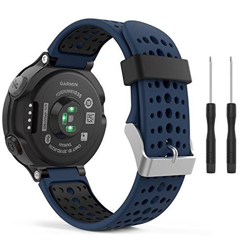 MoKo Bracelet Compatible avec Garmin Forerunner 235/220/230/620/630/735 Smartwatch, Watch Band Flexible en Silicone avec des Outils Montre de Running GPS avec Cardio au Poignet, Bleu Nuit et Noir