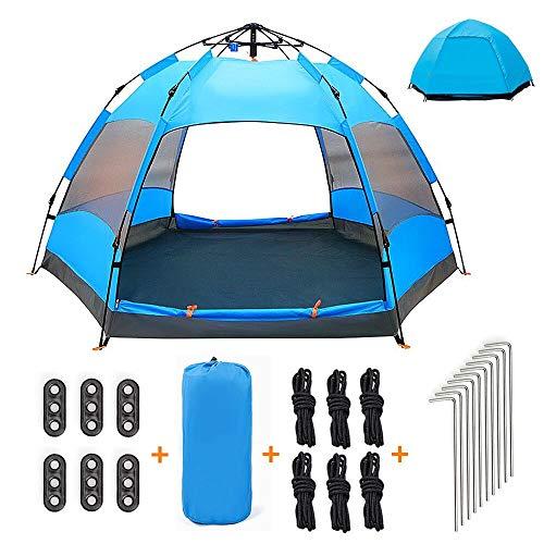 Qrout Pop Up Tente de Camping 3-4 Personnes - 100% Anti UV Abri - Double Couche Étanche Automatique Grande Tente pour Familiale Enfant Jardin Exterieur 240 x 240 cm