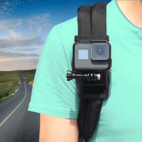 Sangle d'épaule pour GoPro Hero 7 6 5 4 3 +, Parapace Lot Fixation Velcro Sangle d'épaule réglable Support Rotatif à 360 ° avec Crochet pour caméra d'action, Xiaomi, SJCAM