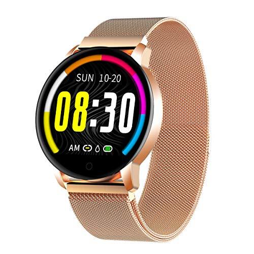 Montre Connectée GOKOO Smartwatch Femme Homme Montre Sport Bracelet Connecté Étanche Montre Intelligente Podomètre Calorie Cardiofréquencemètre Fitness Tracker d'Activité pour Android Et iOS (d'or)