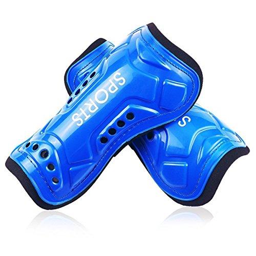 1paire de protège-tibias Auvstar pour football - Légers et respirants - Équipement de protection - Pour enfant de 3 à 10ans, bleu