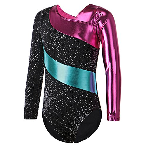 HUAANIUE Justaucorps de Gymnastique Danse Fille Leotard Combinaison Gym Esthétique Enfant ,Noir,9-11 Ans(étiquette 150)