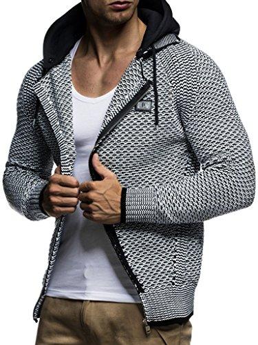 LEIF NELSON pour des Hommes Pull à Capuche Cardigan Hoodie Pullover avec Capuche Sweat Sweater Zipper Sweatshirt LN7055; Taille M, Noir-Ecru