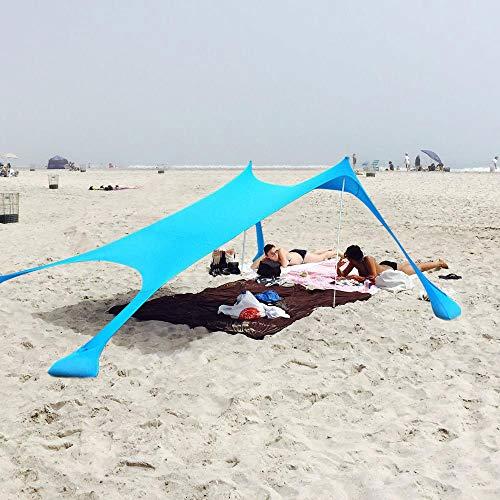 XISHUAI Qrout Plage de Tente avec Sac de Sable Ancres - Portable 100% Lycra Abri de Plage avec UPF50+ Anti UV Etanche - 2.1m x 2.1m Le Camping Randonnée Pêche Pique-Nique