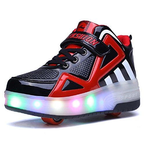 Unisex Enfants LED Clignotante Chaussures à Skates avec roulettes Doubles Bouton Poussoir Ajustable lnline Patins à roulettes Course à Pied Sneakers pour Garçons Filles (31 EU, 8085-Noir Rouge 04)