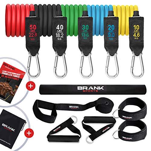 BRANK Sports Elastique de sport musculation avec poignées 5 à 68kg de résistance ajustable | Kit complet de bandes elastiques musculation de 13 accessoires + Ebook d'entraînement offert à télécharger