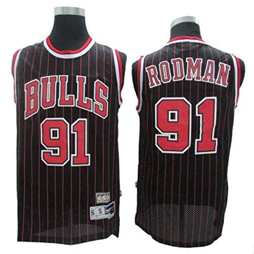 CCKWX Maillots pour Hommes - Chicago Bulls # 91 Maillots Dennis Rodman Vintage, Débardeur Respirant en Tissu Swingman Basketball Jersey,Noir,XXL:190cm/95~110kg
