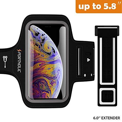 PORTHOLIC Brassard de Sport pour iPhone X/XS,-avec Sangle Ajustable- Anti-Sueur Armband avec Porte-Clés&Cartes,Attache pour Câble