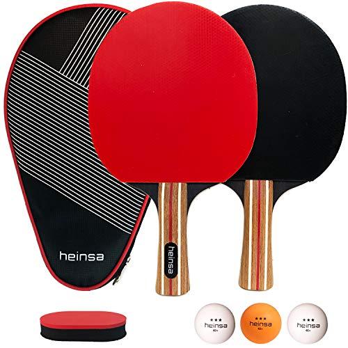 heinsa Raquette de Ping Pong Professionnel Set, 2 Raquette de Tennis de Table avec étui + 3 Balle