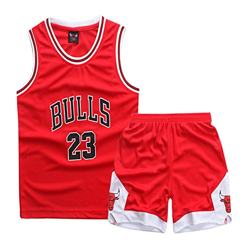 Garçon Fille Basket Maillots Jorden#23 Golden Satate Basket-Ball Perfomance Sport Ensemble Maillot de débardeur Basket Shorts pour Enfant Sport Uniforme (Rouge, XL(Teenager))