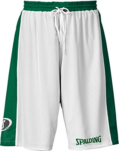Spalding - Essential Reversible Shorts - Short de Basketball - Homme - Vert/Blanc - FR : S (Taille Fabricant : S)