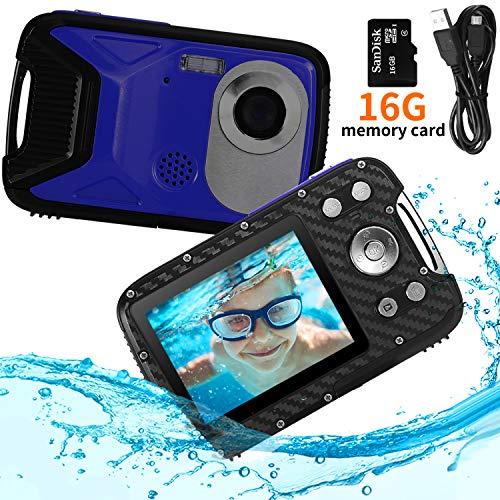 PELLOR Appareil Photo Enfants Etanche Mini Caméra Numérique Rechargeable Anti-Choc avec Carte 16GB Sport Jouet Extérieur