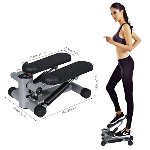 BUSYALL Mini Stepper Fitness Swing Twist a Pression Hydraulique Machine D'exercice avec Extenseurs Corde Elastique Rouge