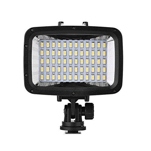 Kafuty Lumière de caméra 40m / 130ft sous-Marine étanche plongée vidéo 60pcs LED 16: 9 Lampe de Remplissage à écran Large pour Appareil Photo et Smartphone