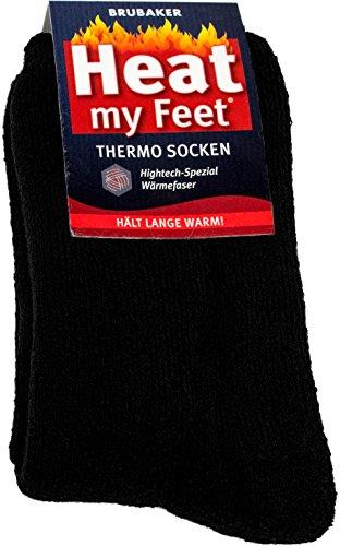 Brubaker Chaussettes thermiques 'Heat my Feet' - Lot de 2 Paires - Unisexe - 43-46 - Noir