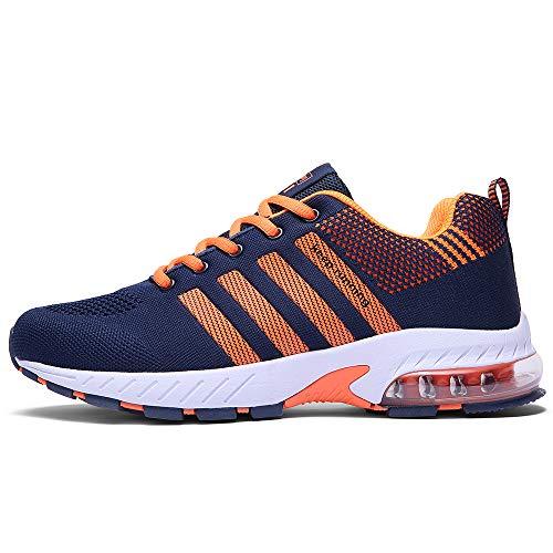 FUSHITON Chaussures de Course Air Coussin Semelle Respirant Confort Sport Athlétique Sneakers Baskets Femmes Hommes, Orange, 37 EU