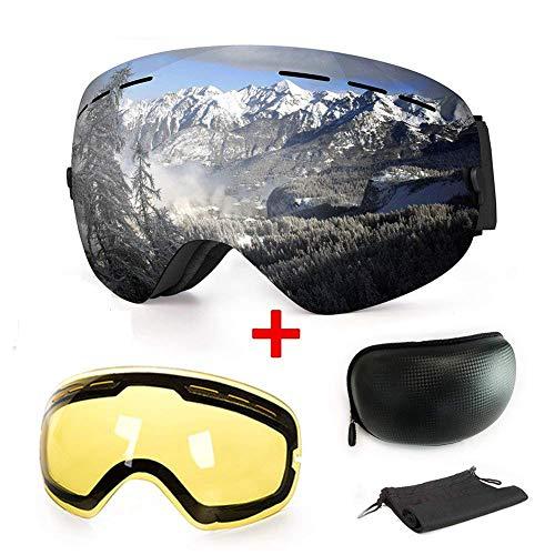 WLZP Masque de Ski ou Snowboard avec Traitement Anti-buée et Protection Anti-UV - Verres sphériques Doubles interchangeables - pour Hommes, Femmes et Enfants