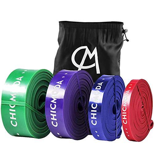 CHICMODA Bandes de résistance Bande Elastique Fitness Équipement d'Exercices pour Musculation, Yoga, Perte de Poids pour Homme et Femme en Caoutchouc avec Sac de Transport,Bleu (35-60lb)