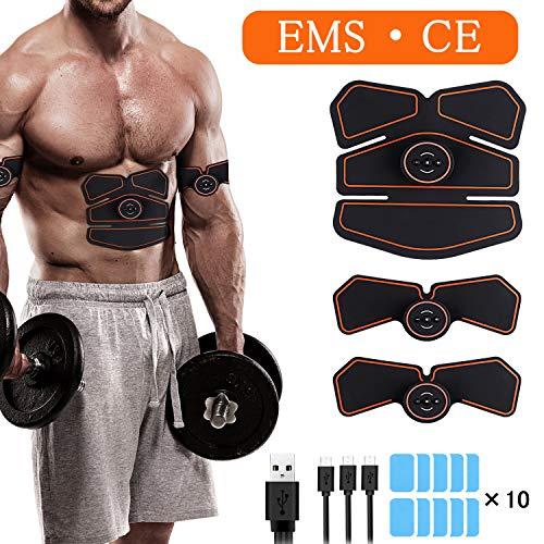 Morease Electrostimulateur Musculaire EMS Appareil Abdominal Muscle Stimulateur pour Homme et Femme,Ceinture Abdominale Electrostimulation/Bras/Jambes/Fesses, USB Rechargeable