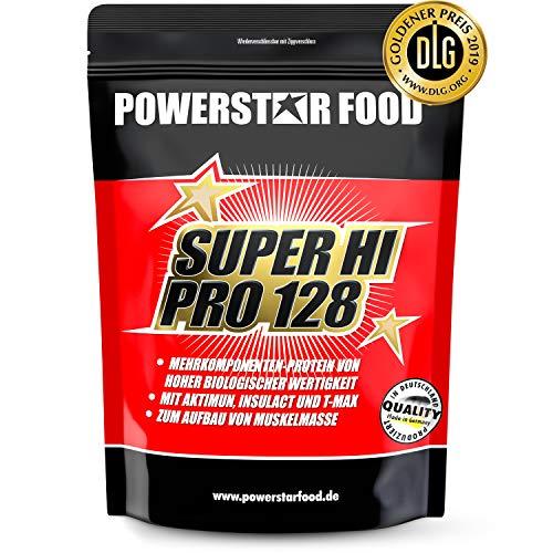 Notre bestseller SUPER HI PRO 128 - Protéine multicomposant en poudre pour musculation, prise de masse - Produit d'après une formule scientifique - VB la plus élevée (Chocolat, 1000 g Sachet)