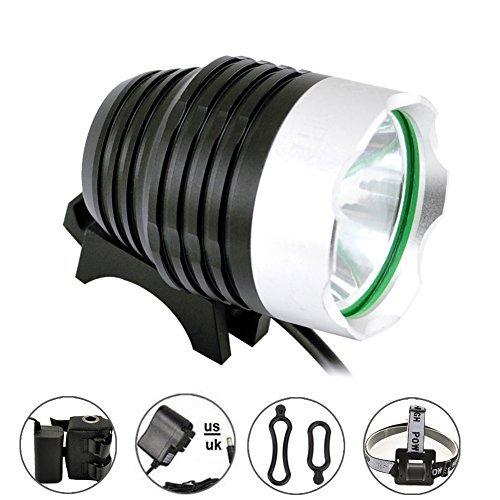 Comunite 1200 Lumens Super Bright LED Cree XML T6 Rechargeable étanche Mountain Bike Phare vélo Lampe Frontale Lampe de Poche avec Batterie 5200 mAh Lot, Idéal pour le Camping,Randonnée, VTT, Vélos