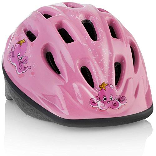 TeamObsidian Casque de Vélo Enfant [ Pieuvre Rose ] - Ajustable pour Les Enfants de 3 à 7 Ans - Casque résistant avec Design Aquatique Sympa Que Les Filles Vont Adorer - Certifié CE - FunWave