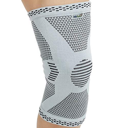 Genouillère protège-genou (1 Unité) Neotech Care en fibre de bambou - Élastique et respirante - Couleur grise (Taille XL)