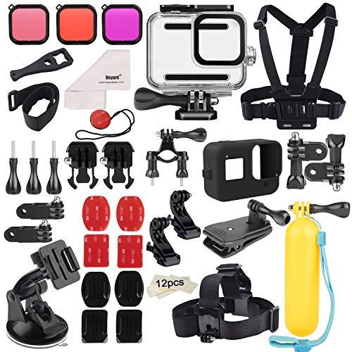 Deyard Kit d'Accessoires 52 en 1 pour GoPro Hero 8 Noir, Boîtier Etanche 3 Filtres Etui en Caoutchouc Sangle de Poitrine / Serre-tête / Dragonne pour Vélo / Sac à Dos pour Voiture