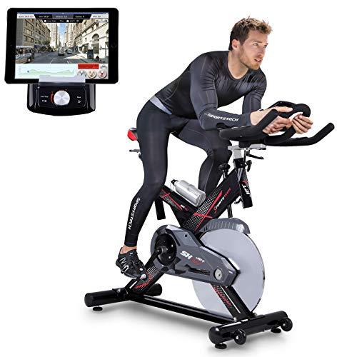Vélo d'Appartement ergomètre SX400 avec Commande par Application Smartphone, Poids d'inertie 22 KG, Supports pour Bras, cardiofréquencemètre, Vélo de cardiotraining (SX400)